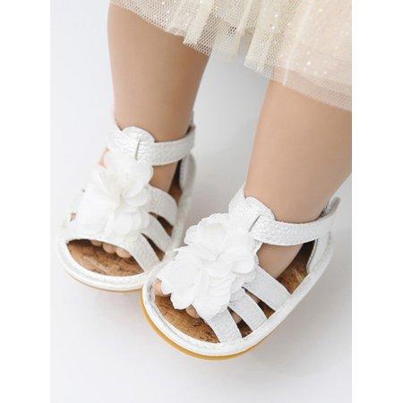Lavaport Infant Baby Girls Summer Sandals Anti-Slip Rubber Sole Flower Toddler First Walkers -