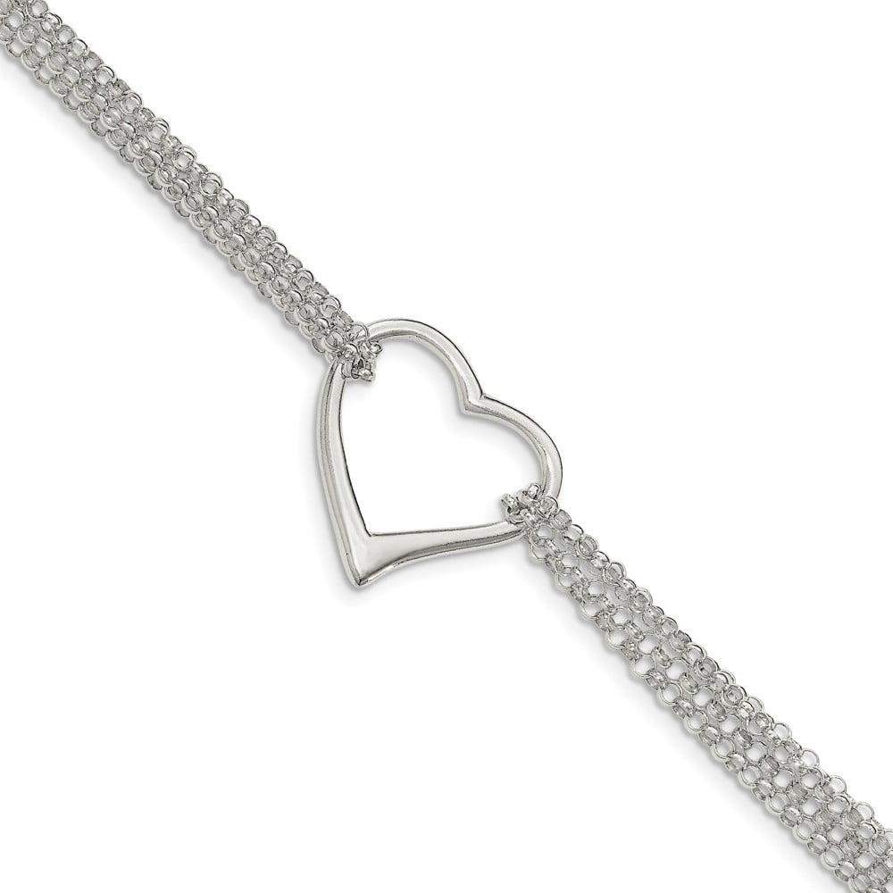 Sterling Silver Polished Multi Strand Heart Bracelet - 7.25 Inch