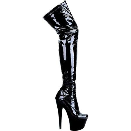 7 Inch Womens Sexy Thigh High Boots Black Boots High Heel Platforms Stretch 7' Heel Thigh High Platform