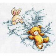 "Counted Cross Stitch Kit-8""X7-1/8"" 14 Count-Baby W/Rabbit & Teddy Bear I"