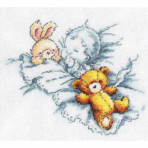 "Counted Cross Stitch Kit-8""X7-1/8"" 14 Count-Baby W/Rabbit & Teddy Bear I"
