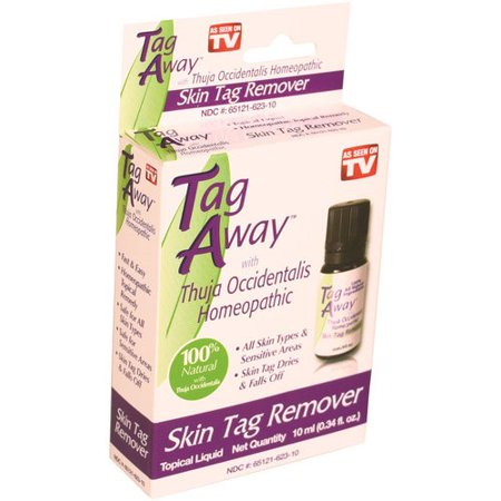 Tag Away Skin Tag Remover!, .34 fl oz Clear skin tags with Tag Away Skin Tag Remover. It works quickly, easily and painlessly. The skin tag removal liquid contains a homeopathic topical remedy that's made with natural plant extracts and a pure essential oil. It contains thuja occidentalis, a pure essential oil recognized for its tag-removing properties. It is safe to use on sensitive areas. Use it to remove the skin tags on the neck, underarms or other parts of the body. Thenatural plant extracts help to eliminate harmless and unwanted skin overgrowths without any pain. It works withoutscarring, pain and chemicals.