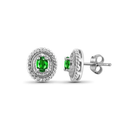 0.38 Carat Gold Over Silver Chrome Diopside Gemstone and Accent White Diamond