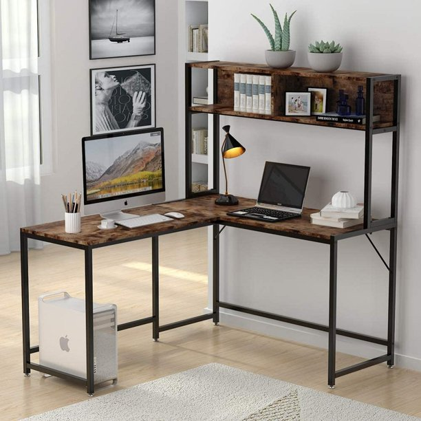 Zimtown L-Shape Corner Computer Table Desk with Hutch Wooden Laptop Table Workstation with Storage Bookshelf for Home Office