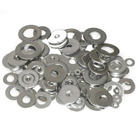 "Wideskall® Zinc Plated Steel Flat Washers Set Assortment Kit 3 Size 1/2"" 5/8"" 11/16"" - Pack of 80"