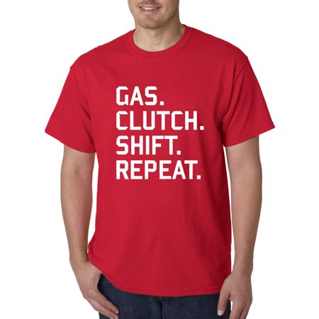 - New Way 864 - Unisex T-Shirt Gas Clutch Shift repeat Car Lifestyle Medium Red