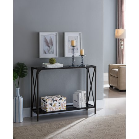 Allegheny Entryway Sofa Console Table, Pewter Metal Frame & Black Glass Top, Modern With Storage Shelf