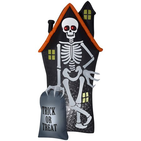 8' Projection Airblown Skeleton and Haunted House Tombstone Scene Halloween Inflatable - Modern Family Halloween Scene