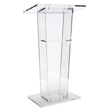 """Lectern Podium, Clear Acrylic, 47"""" Tall with Inner shelf, Rubber Feet, 26.5""""W x 15.8""""L Top Surface (LECTFACVFC)"""