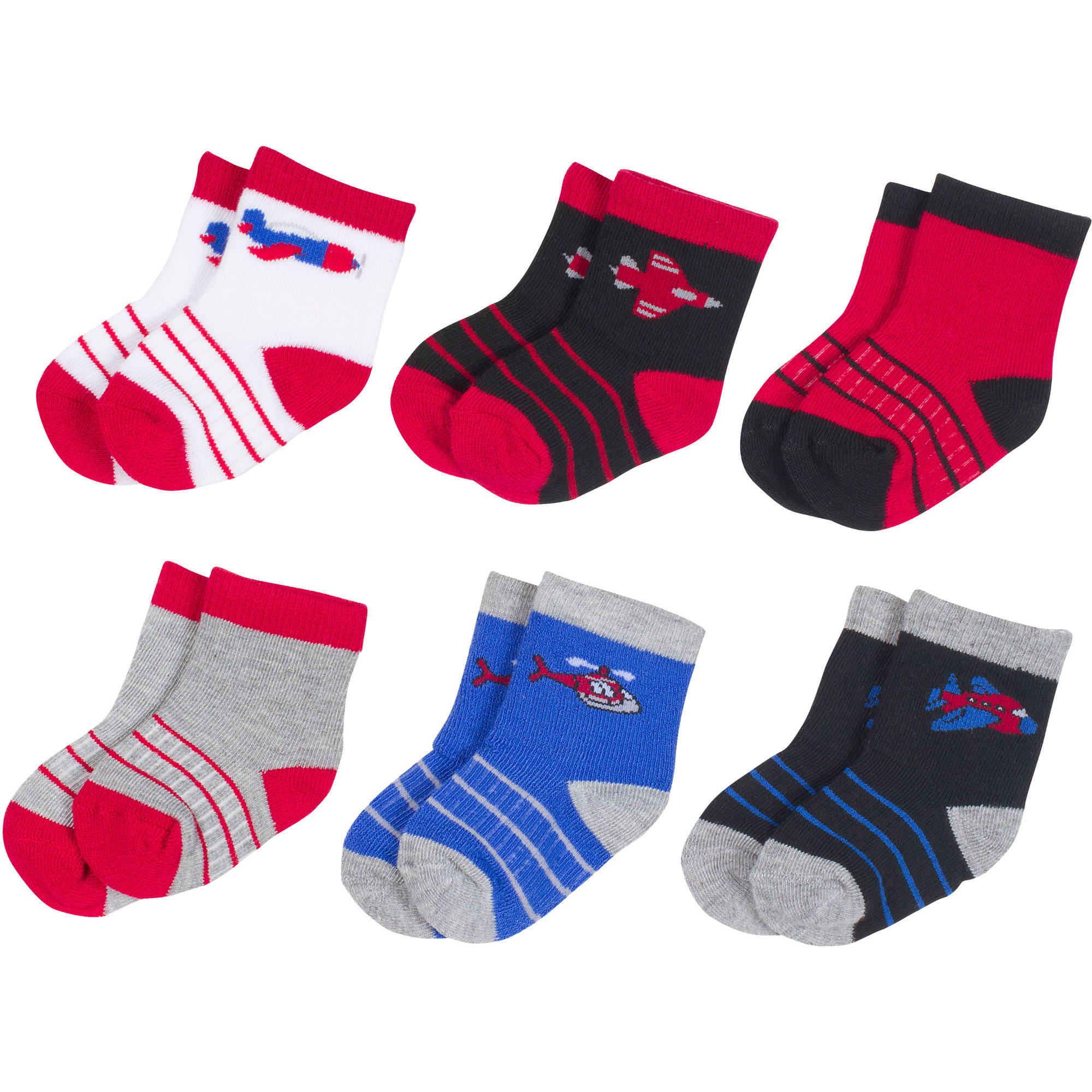 Growing Socks by Peds, Boy Infant, Airplanes, 6 Pairs