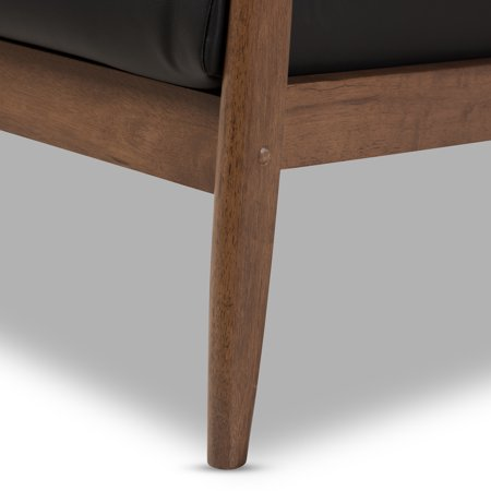 Baxton Studio Venza Mid-Century Modern Walnut Wood Black Faux Leather Lounge Chair