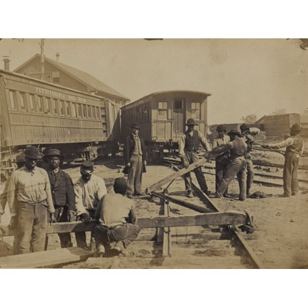 Military railroad operations in northern Virginia men using levers for loosening rails Poster Print