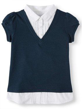 Wonder Nation Girls School Uniform 2-fer V-Neck Sweater and Blouse, Sizes 4-18