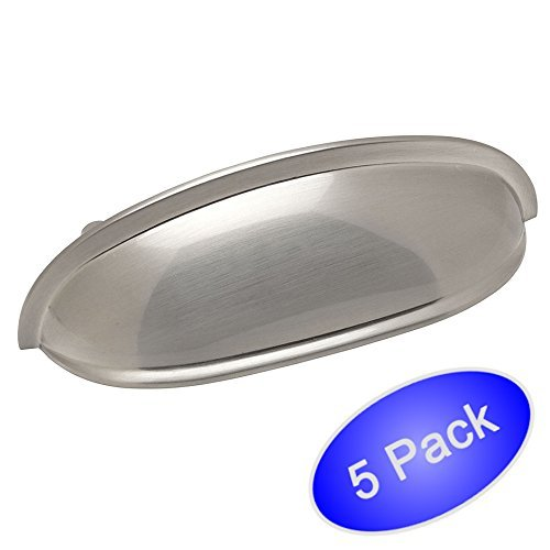 "Cosmas 7712SN Satin Nickel Cabinet Hardware Bin Cup Drawer Handle Pull - 3"" Hole Centers - 5 Pack"