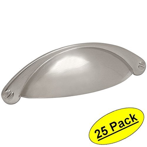 "Cosmas 4198SN Satin Nickel Cabinet Hardware Bin Cup Drawer Handle Pull - 2-1/2"" (64mm) Hole Centers - 25 Pack"