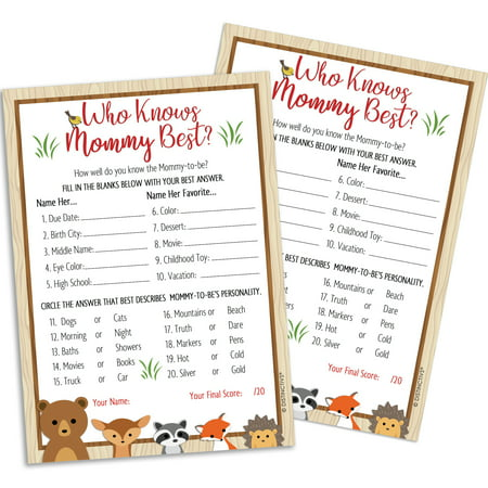 Woodland Baby Shower Game For 20 Guests Who Knows Mommy Best