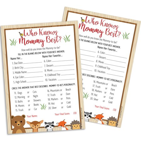 Woodland Baby Shower Game for 20 Guests - Who Knows Mommy Best Woodland Creatures Animals Theme Baby Shower Supplies - 20 Game - Rainforest Themed Baby Shower