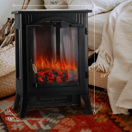 Ainfox 3D Electric Fireplace Stove, Freestanding Fireplace Heater with Realistic Flame Effects, Portable Indoor Space Heater with Overheating Safety System, Adjustable Brightness