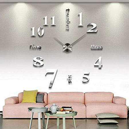 Yosoo Modern DIY Large Wall Clock 3d Mirror Surface Sticker Home Decor Art Design (Diy Clock)