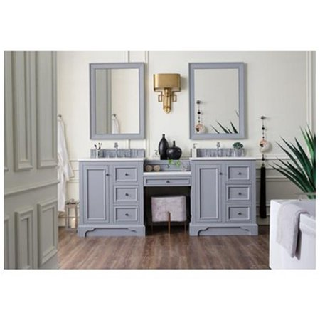 James Martin Furniture 825-V82-SL-DU-AF De Soto 82 in. Double Vanity Set with Makeup Table & 3 CM Arctic Fall Solid Surface Top, Silver Gray (Double Vanity Set)