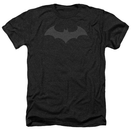 Batman DC Comics Hush Bat Logo Grey on Black Adult Heather T-Shirt Tee