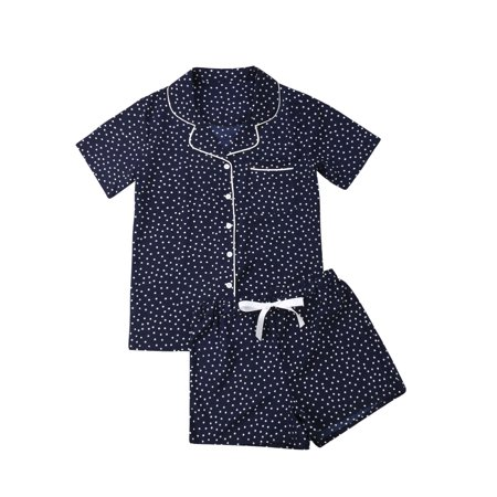 Women Summer Cotton Short Sleeve Sleepwear Ladies V-neck Shirt+Short Pants Pajamas Sets Nightwear Navy blue S