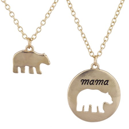 Lux Accessories GoldTone Mama Bear Mother Daughter Charm Pendant Necklace 2PC Running Bear Pendant