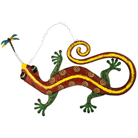 Red Gecko Metal Wall Decor, Features a raised metal gecko with a dark red body, a sponged yellow painted line down the center, green legs and feet.., By Everydecor