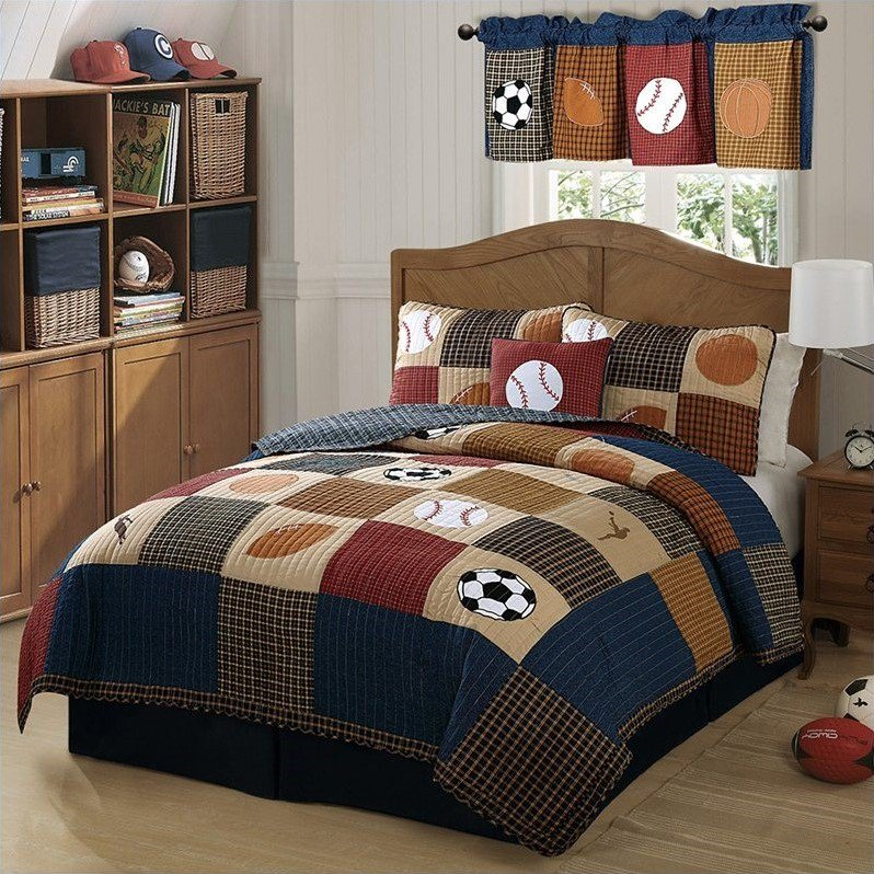 PEM America Classic Sports Piece Quilt Set in Denim and Clay