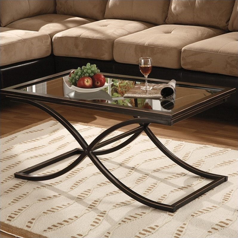 Southern Enterprises Vogue Black Coffee Table with Glass Top