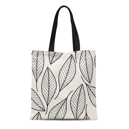 HATIART Canvas Tote Bag Leaf Floral Pattern Abstract Black Outline Modern Flora Graphic Durable Reusable Shopping Shoulder Grocery Bag - image 1 of 1