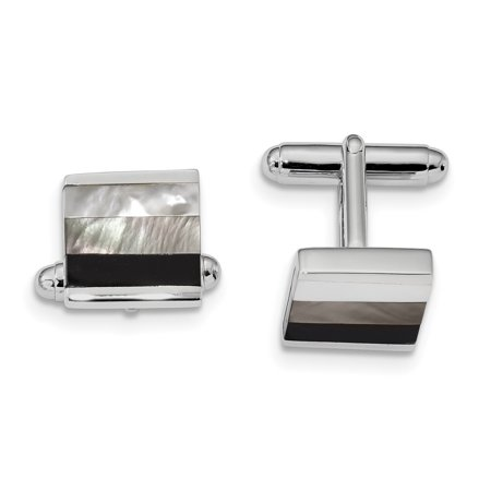 925 Sterling Silver Black Onyx White/grey Mop Cuff Links Mens Cufflinks Link Dad Mens