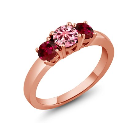 18K Rose Gold Plated Silver Created Ruby Ring Pink Created Moissanite 0.50ct DEW ()