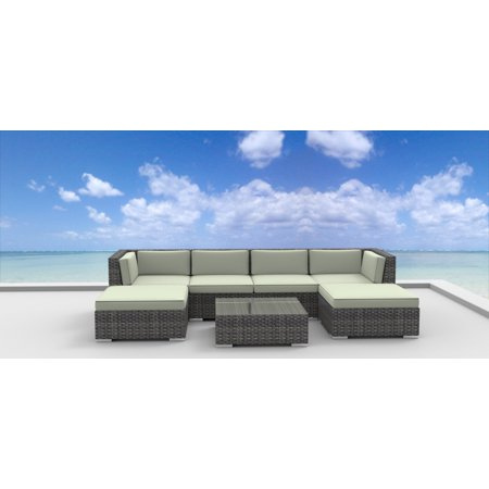 Urban Furnishing - MAUI 7pc Modern Outdoor Wicker Patio Furniture Modular Sofa Sectional Set, Fully Assembled - Beige ()