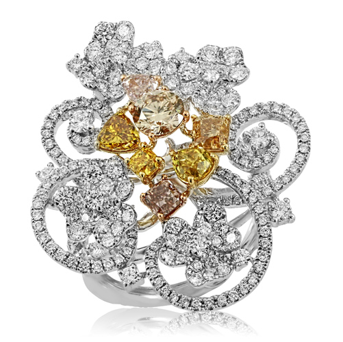 18K THREE TONE GOLD 3.78CTW MULTICOLOR DIA AND PINK DIAMOND AND DIAMOND RING by