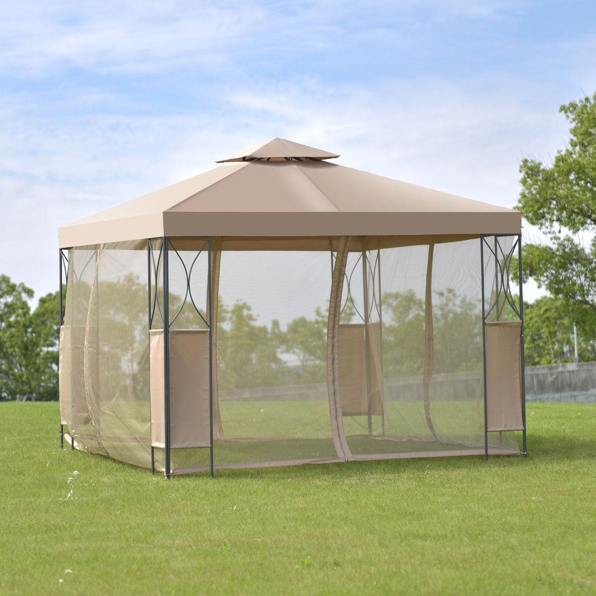 Costway 2-Tier 10'x10' Gazebo Canopy Tent Shelter Awning Steel Patio Garden Brown Cover by Costway