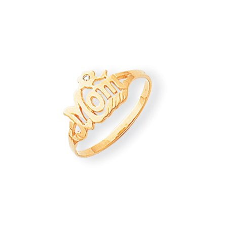 Solid 14k Yellow Gold A Diamond Mom Ring (9mm) - Size 4