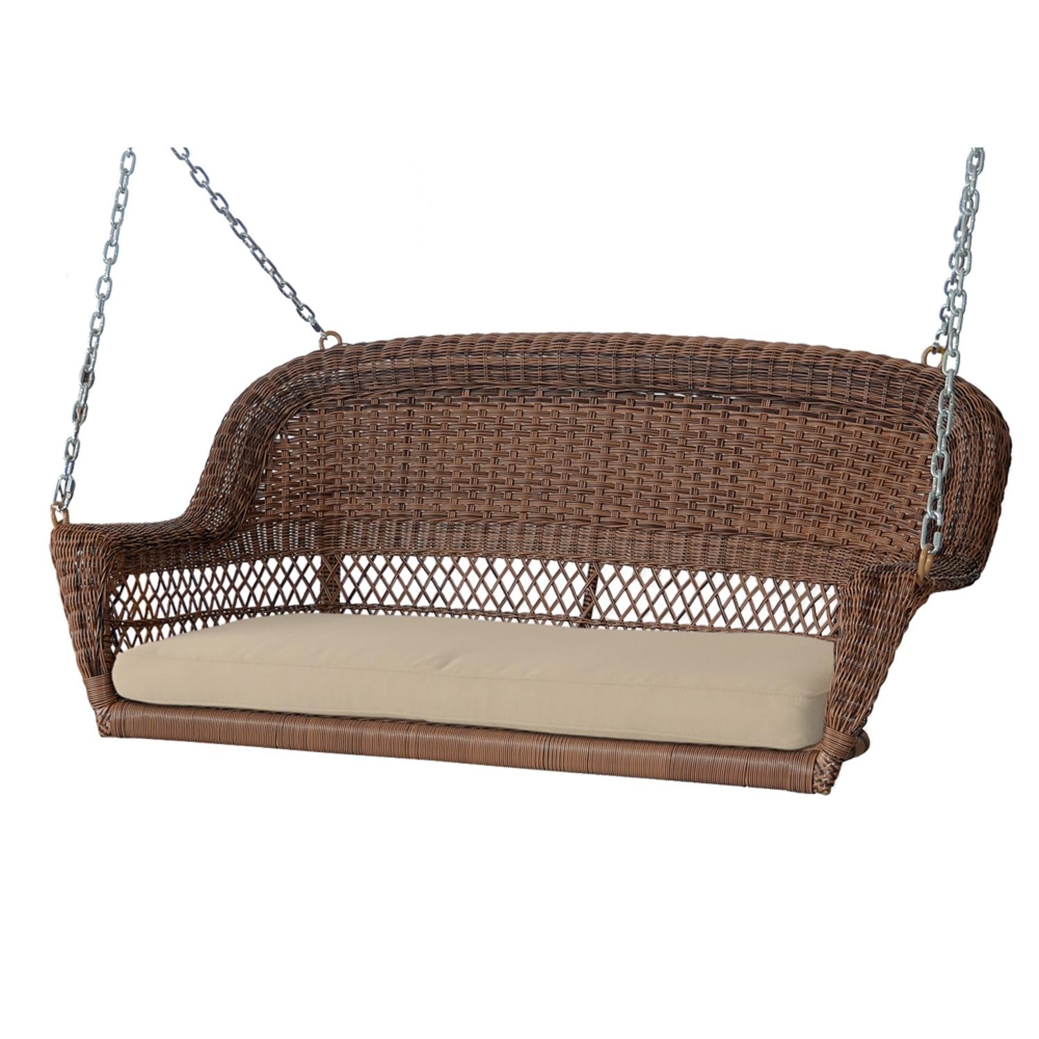 """51.5"""" Hand Woven Honey Brown Resin Wicker Outdoor Porch Swing with Tan Cushion"""