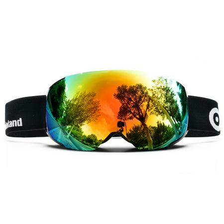 Spherical Series Goggles - ODOLAND Anti-Fog Ski Goggles Snowboard Goggles w/ Magnetic Detachable Lens Double Spherical Lens Black