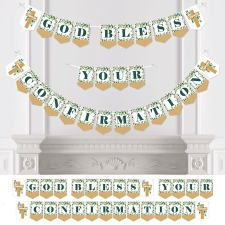 Confirmation Elegant Cross - Religious Party Bunting Banner - Party Decorations - God Bless Your Confirmation