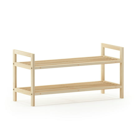 Stackable Shoe Rack - Furinno Alder Pine Solid Wood Stackable 2-Tier Shoe Rack, Natural