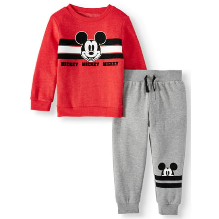 Mickey Mouse Toddler Boys Long Sleeve Graphic T-shirt & Drawstring Fleece Jogger Pant, 2pc Outfit Sets ()