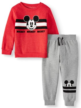 Mickey Mouse Toddler Boys Long Sleeve Graphic T-shirt & Drawstring Fleece Jogger Pant, 2pc Outfit Sets