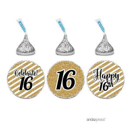 Milestone Chocolate Drop Labels Trio, Fits Hershey's Kisses Party Favors, 16th Birthday, 216-Pack, Not Real Glitter (16th Birthday Favors)