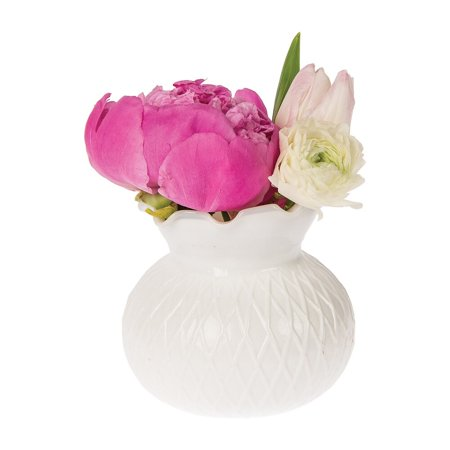 Luna Bazaar Vintage Milk Glass Vase (4-Inch, Daisy Short Ruffled Design, White) - Decorative Flower Vase - For Home Decor, Party Decorations, and Wedding Centerpieces Milk Glass Hanging
