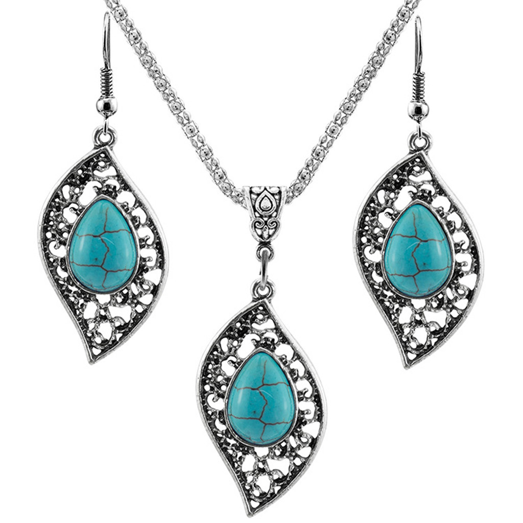 COMELYJEWEL AB Coloured Big Crystal Gem Pendent Statement Women Necklace Earrings Set Ladies Fashion Chunky Pretty Unique Design Outstanding Party Costume Jewelry