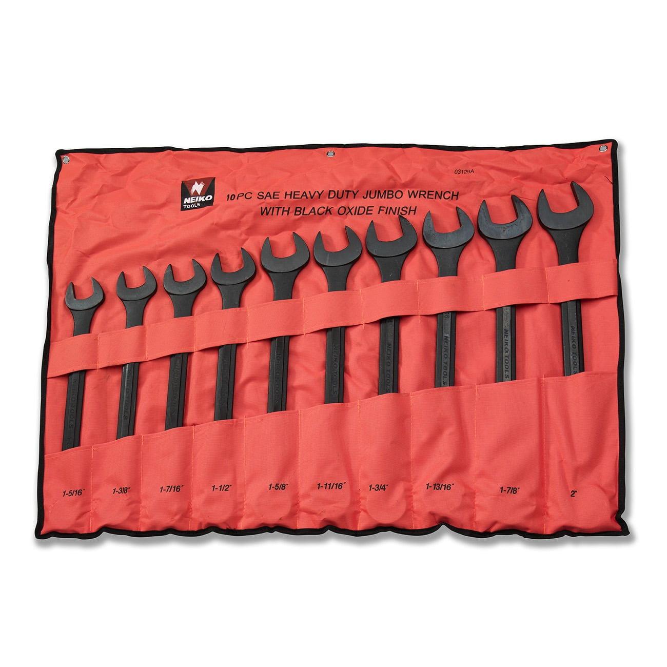 "Neiko 03129A Jumbo Combination Wrench Set, 10 Piece | Black Oxide Finish | SAE (1-5/16"" - 2"")"