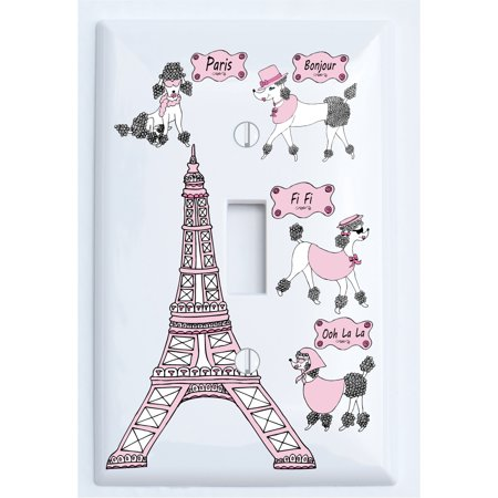 Poodle in Paris Light Switch Plate Covers for the Wall / Single Toggle  / Paris Room Decor - Lightswitch Cover