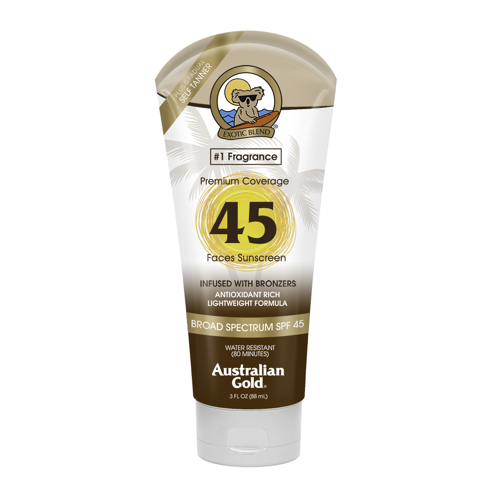 Australian Gold SPF 45 Face Sunscreen w/ Bronzers, Water Resistant, 3 FL OZ