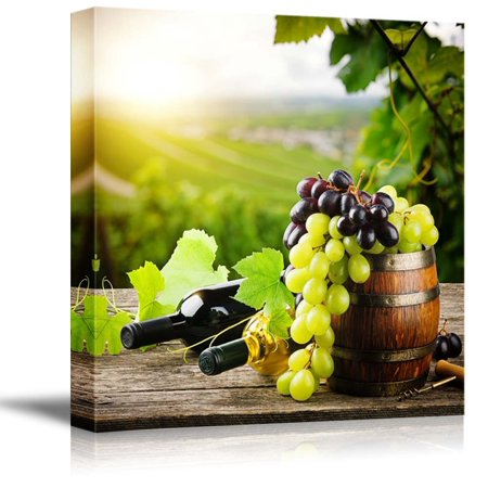 Grape Decor - Canvas Prints Wall Art - Bottles of red and white wine with fresh grape on vineyard | Modern Home Deoration/Wall Decor Giclee Printing Wrapped Canvas Art Ready to Hang - 24
